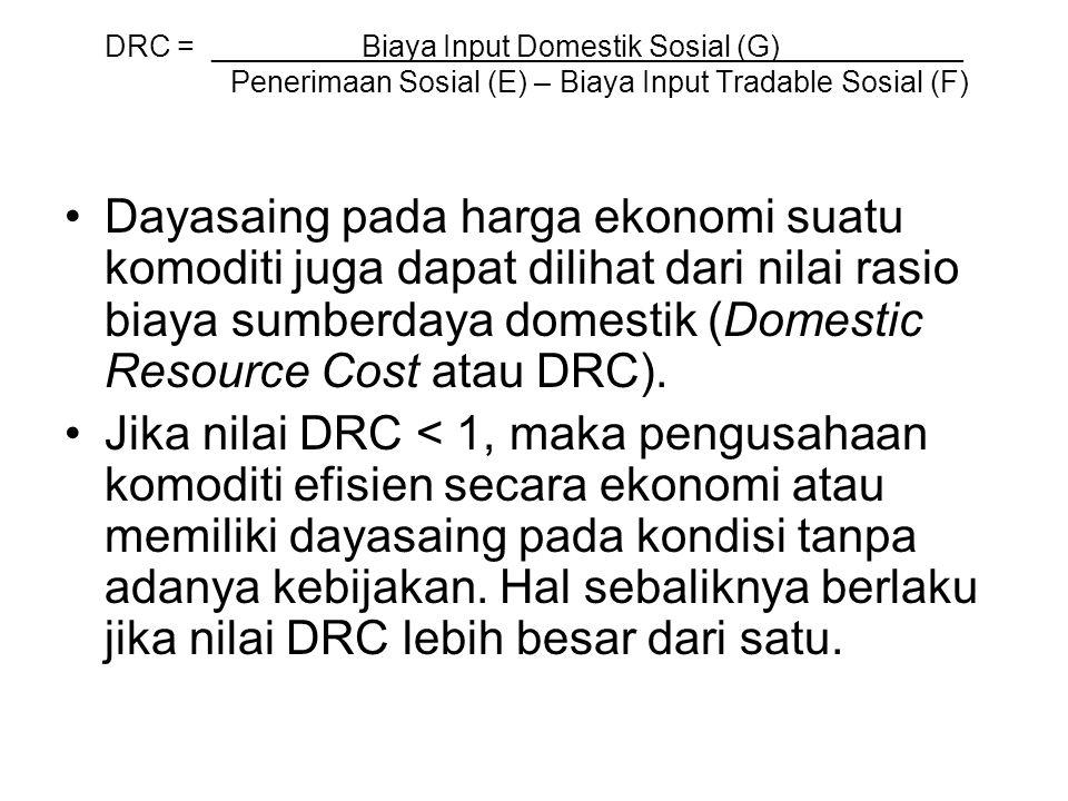 DRC = _________Biaya Input Domestik Sosial (G)___________ Penerimaan Sosial (E) – Biaya Input Tradable Sosial (F)