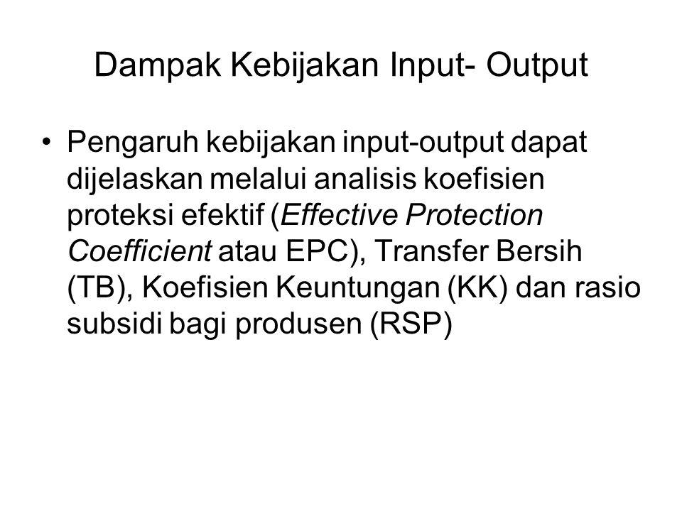 Dampak Kebijakan Input- Output