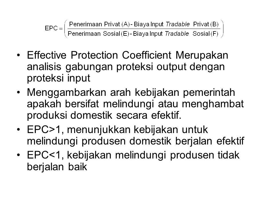Effective Protection Coefficient Merupakan analisis gabungan proteksi output dengan proteksi input