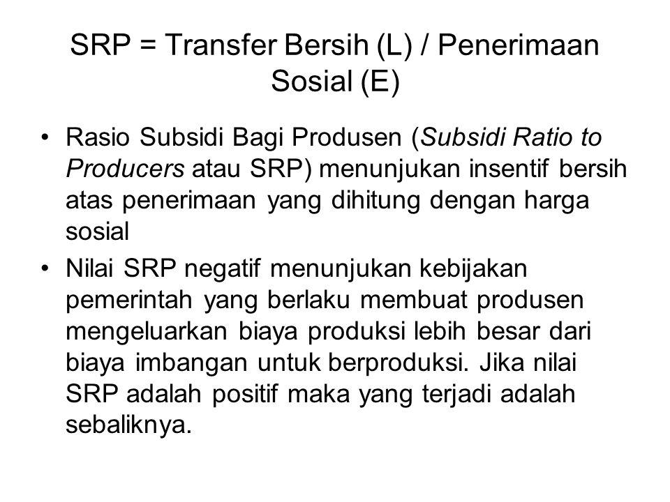 SRP = Transfer Bersih (L) / Penerimaan Sosial (E)