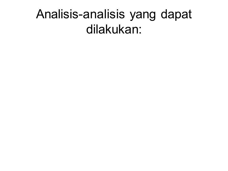 Analisis-analisis yang dapat dilakukan: