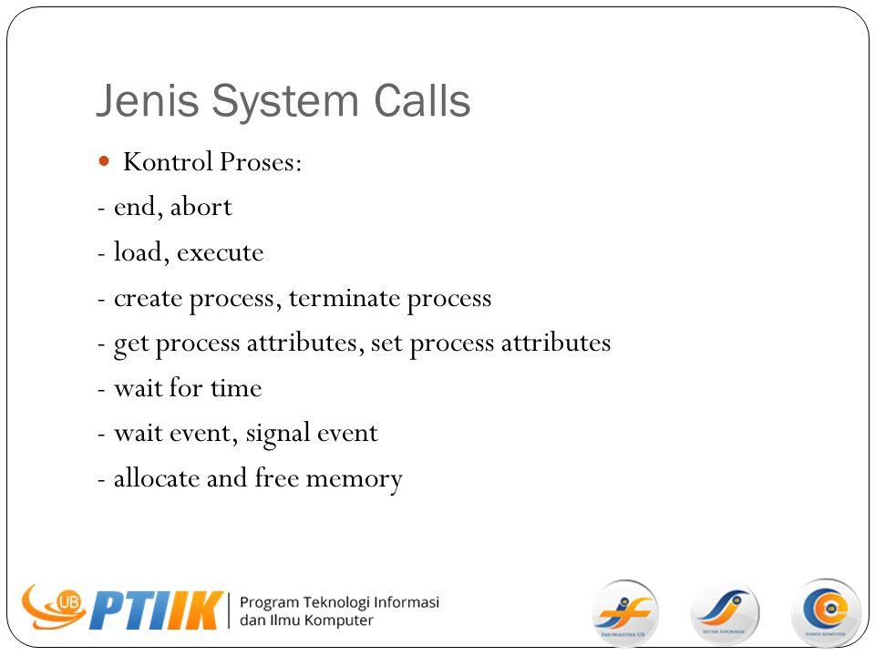 Jenis System Calls Kontrol Proses: - end, abort - load, execute