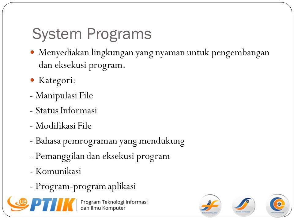 System Programs Menyediakan lingkungan yang nyaman untuk pengembangan dan eksekusi program. Kategori: