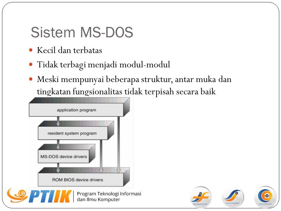 Sistem MS-DOS Kecil dan terbatas Tidak terbagi menjadi modul-modul