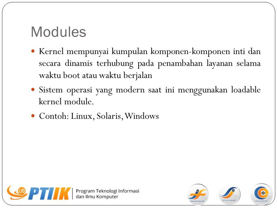 Modules Kernel mempunyai kumpulan komponen-komponen inti dan secara dinamis terhubung pada penambahan layanan selama waktu boot atau waktu berjalan.