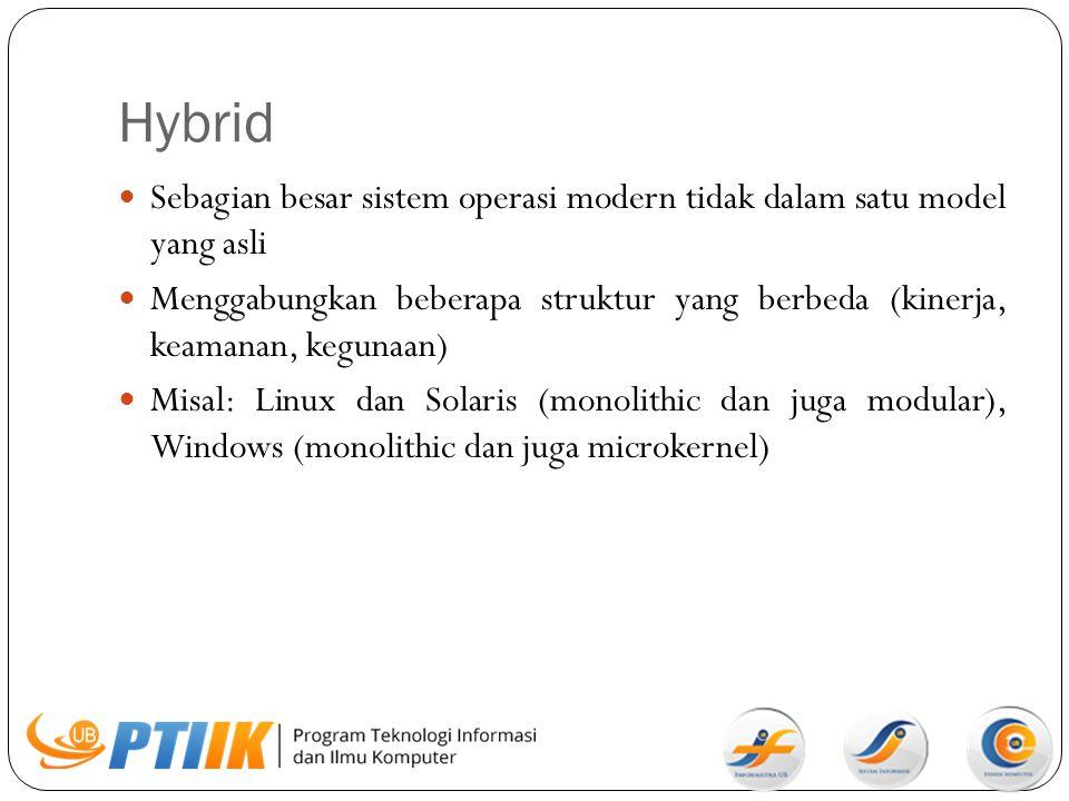 Hybrid Sebagian besar sistem operasi modern tidak dalam satu model yang asli.