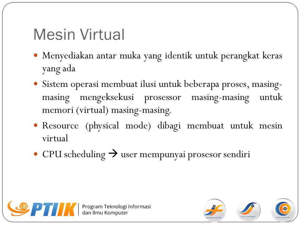 Mesin Virtual Menyediakan antar muka yang identik untuk perangkat keras yang ada.