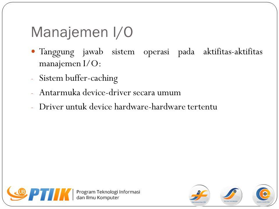 Manajemen I/O Tanggung jawab sistem operasi pada aktifitas-aktifitas manajemen I/O: Sistem buffer-caching.