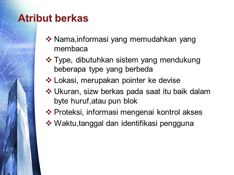 Atribut berkas Nama,informasi yang memudahkan yang membaca