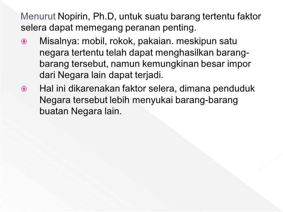 Menurut Nopirin, Ph.D, untuk suatu barang tertentu faktor selera dapat memegang peranan penting.