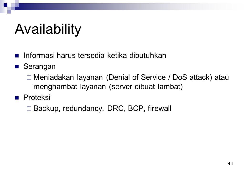 Availability Informasi harus tersedia ketika dibutuhkan Serangan