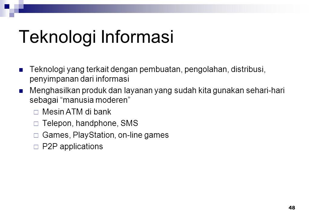 Teknologi Informasi Teknologi yang terkait dengan pembuatan, pengolahan, distribusi, penyimpanan dari informasi.