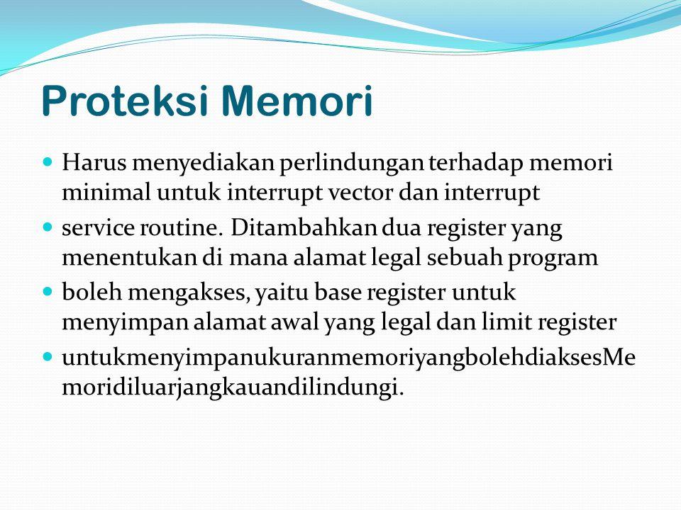 Proteksi Memori Harus menyediakan perlindungan terhadap memori minimal untuk interrupt vector dan interrupt.