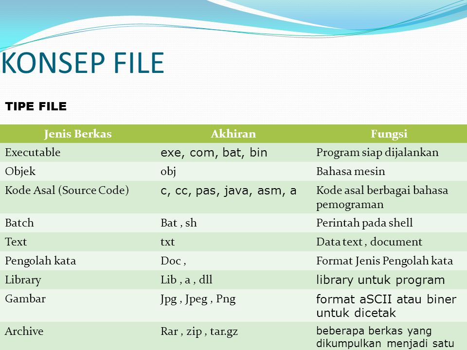 KONSEP FILE TIPE FILE Jenis Berkas Akhiran Fungsi Executable