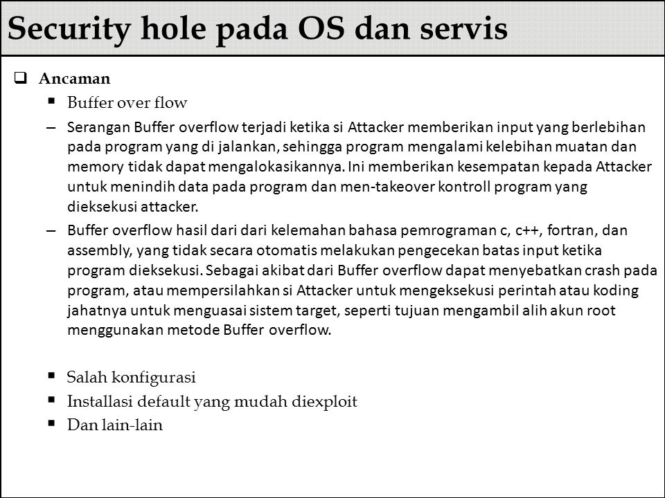 Security hole pada OS dan servis