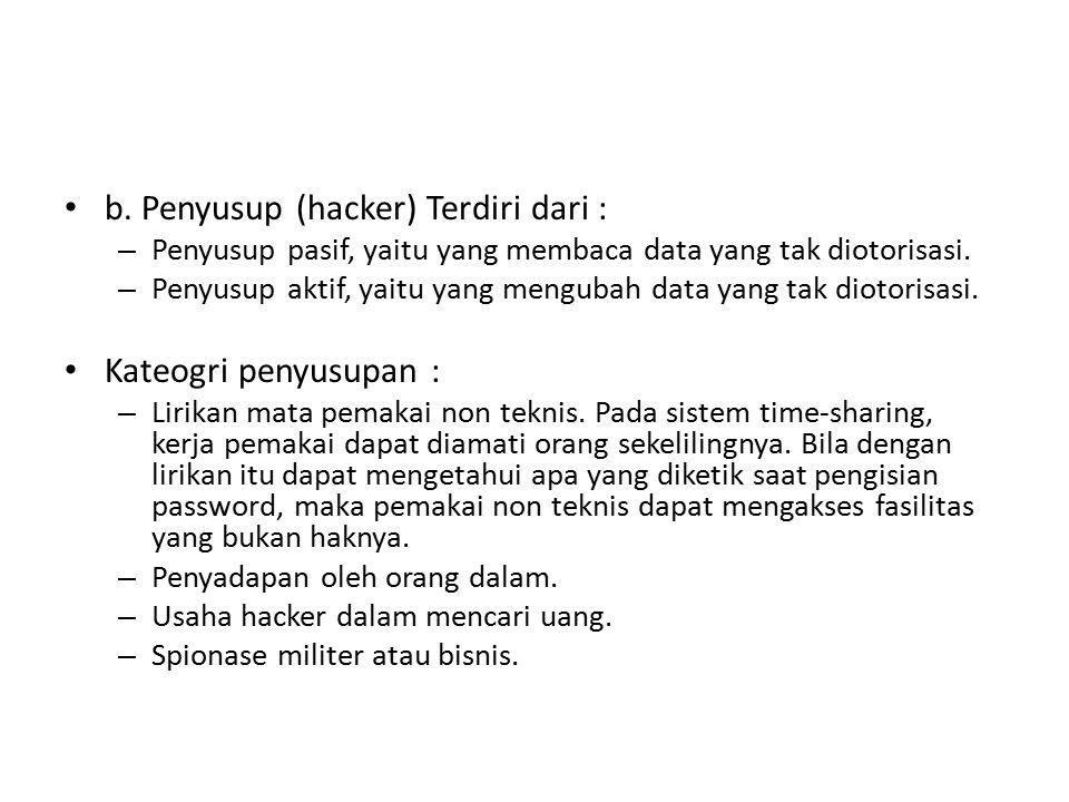 b. Penyusup (hacker) Terdiri dari :