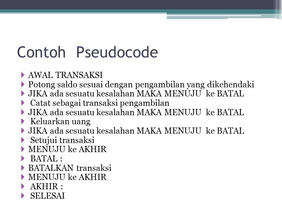 Contoh Pseudocode AWAL TRANSAKSI