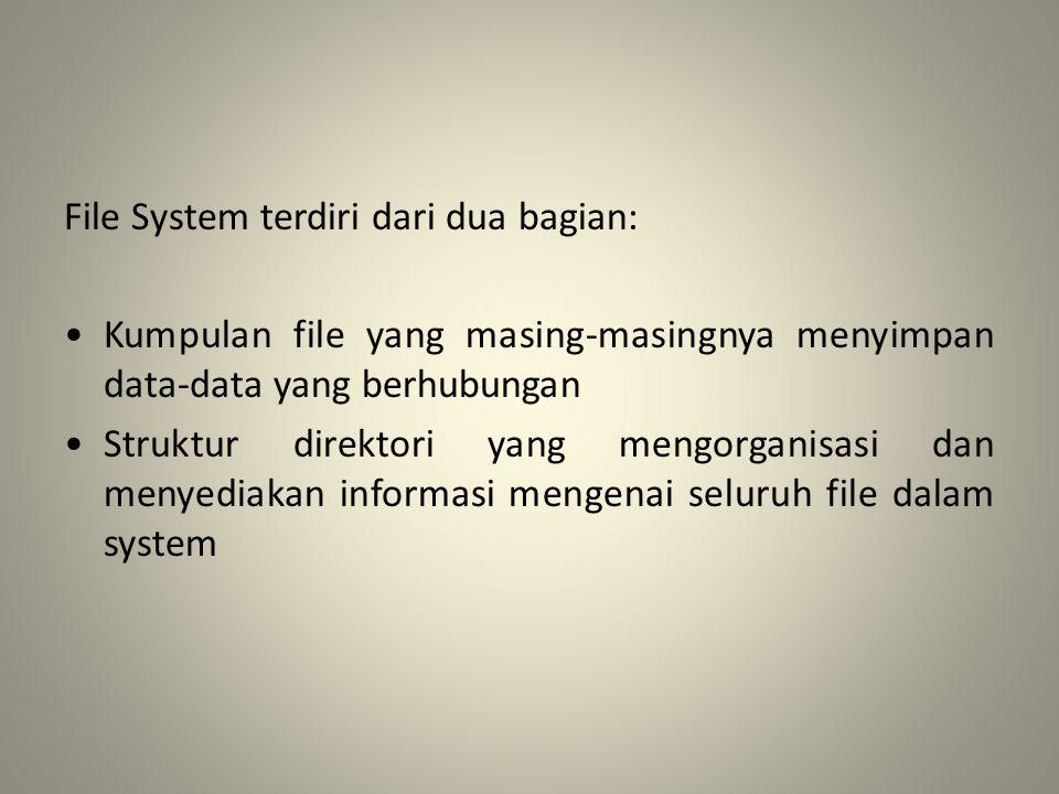 File System terdiri dari dua bagian: • Kumpulan file yang masing-masingnya menyimpan data-data yang berhubungan • Struktur direktori yang mengorganisasi dan menyediakan informasi mengenai seluruh file dalam system