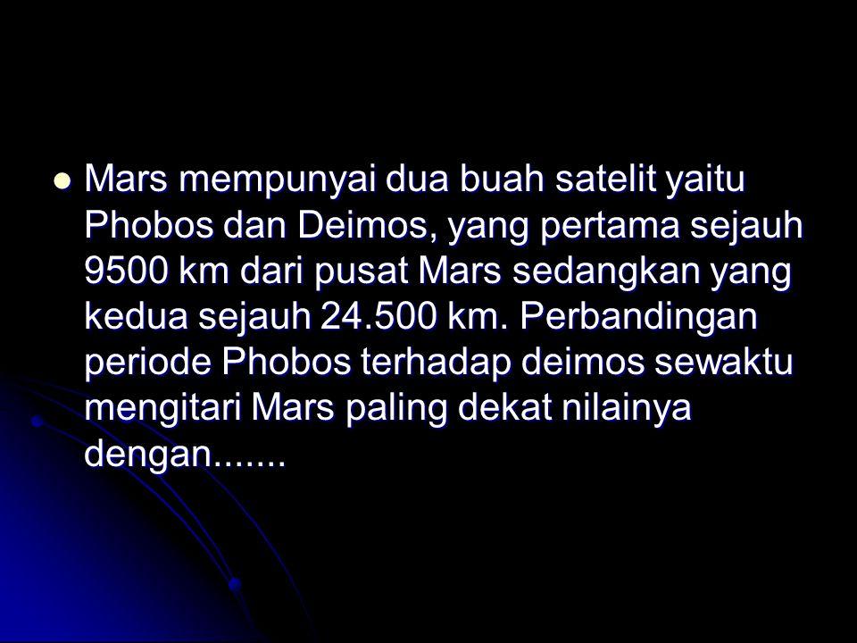 Mars mempunyai dua buah satelit yaitu Phobos dan Deimos, yang pertama sejauh 9500 km dari pusat Mars sedangkan yang kedua sejauh 24.500 km.