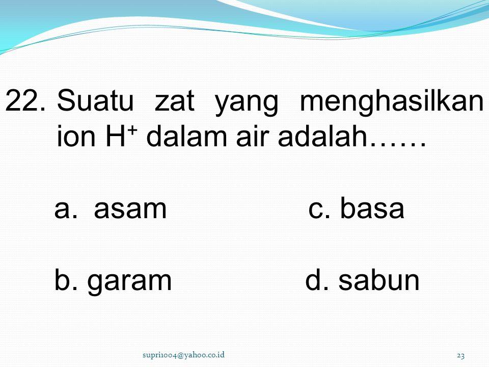 Suatu zat yang menghasilkan ion H+ dalam air adalah……