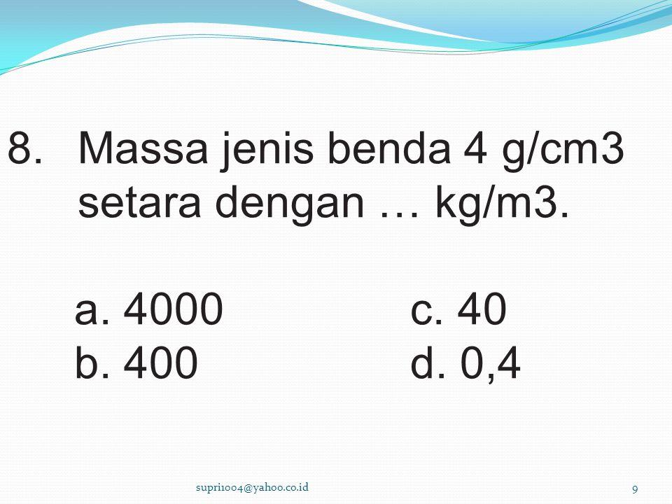 Massa jenis benda 4 g/cm3 setara dengan … kg/m3.