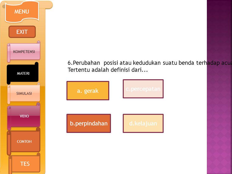 6.Perubahan posisi atau kedudukan suatu benda terhadap acuan
