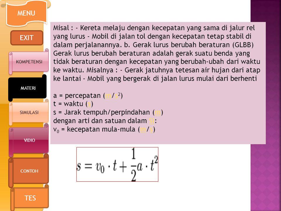 s = Jarak tempuh/perpindahan (m) dengan arti dan satuan dalam SI: