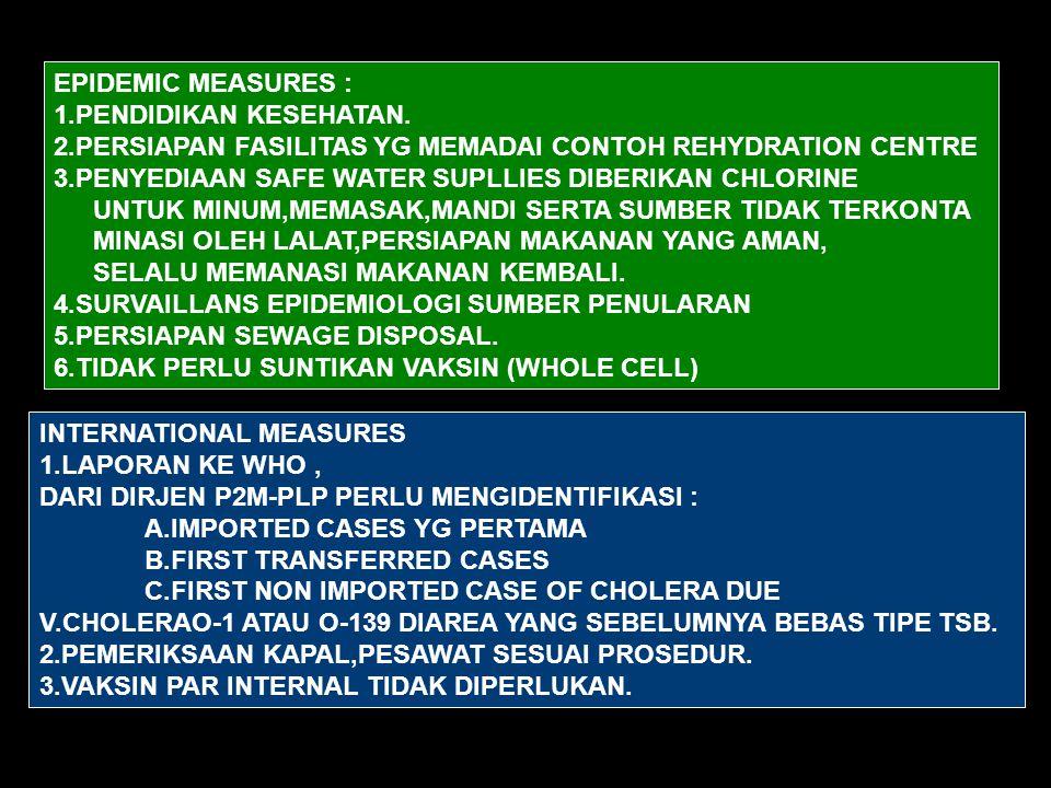 EPIDEMIC MEASURES : 1.PENDIDIKAN KESEHATAN. 2.PERSIAPAN FASILITAS YG MEMADAI CONTOH REHYDRATION CENTRE.