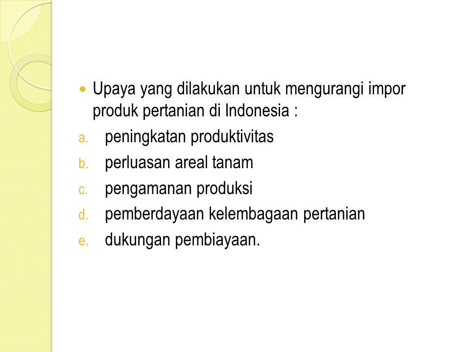 Upaya yang dilakukan untuk mengurangi impor produk pertanian di Indonesia :