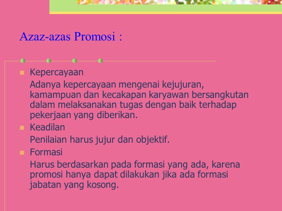Azaz-azas Promosi : Kepercayaan