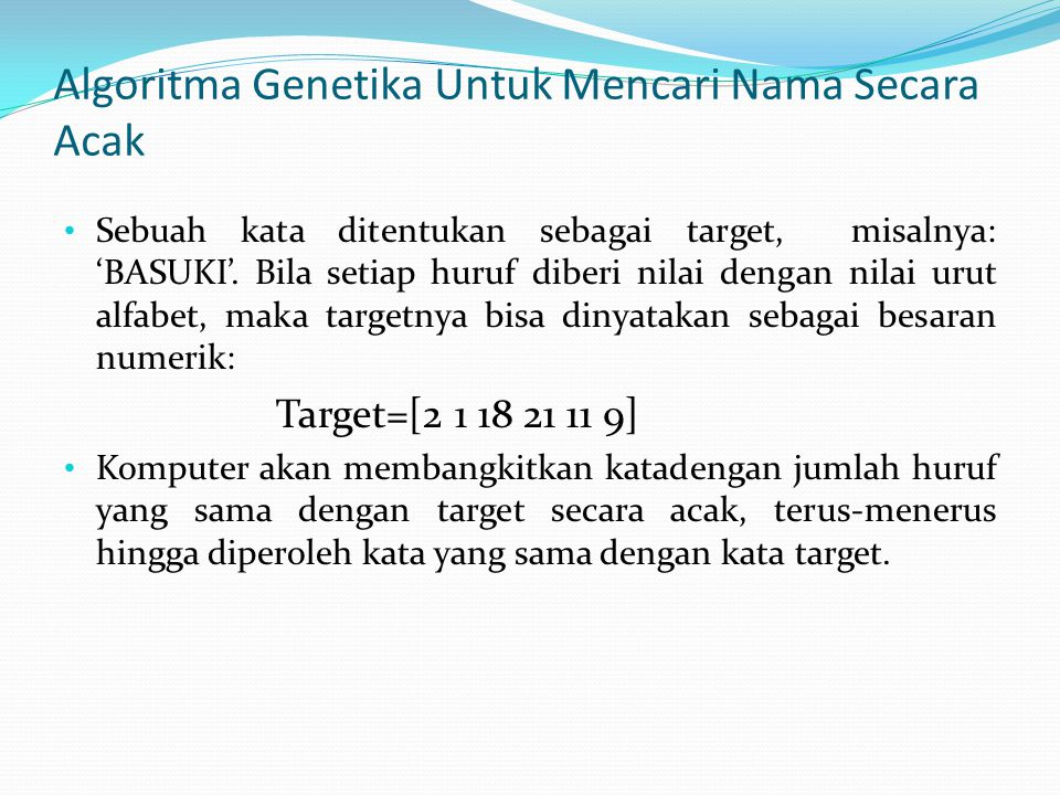 Algoritma Genetika Untuk Mencari Nama Secara Acak