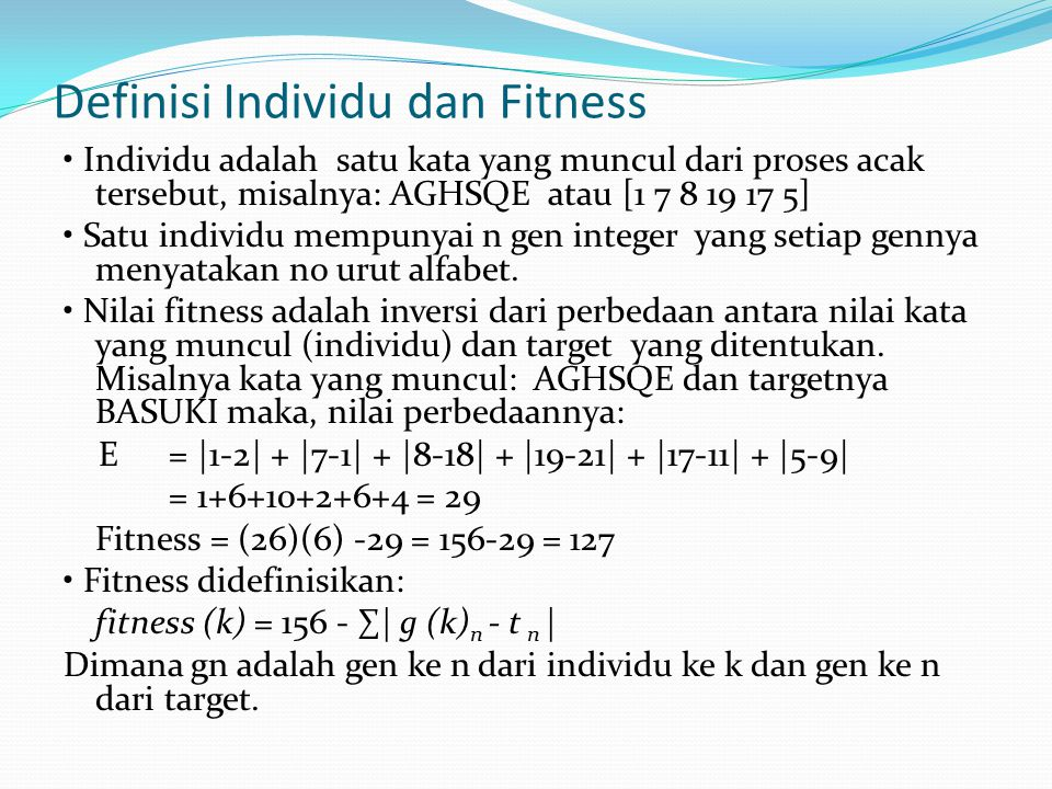 Definisi Individu dan Fitness