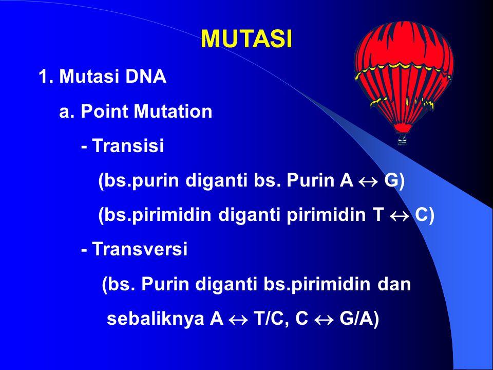 MUTASI 1. Mutasi DNA a. Point Mutation - Transisi