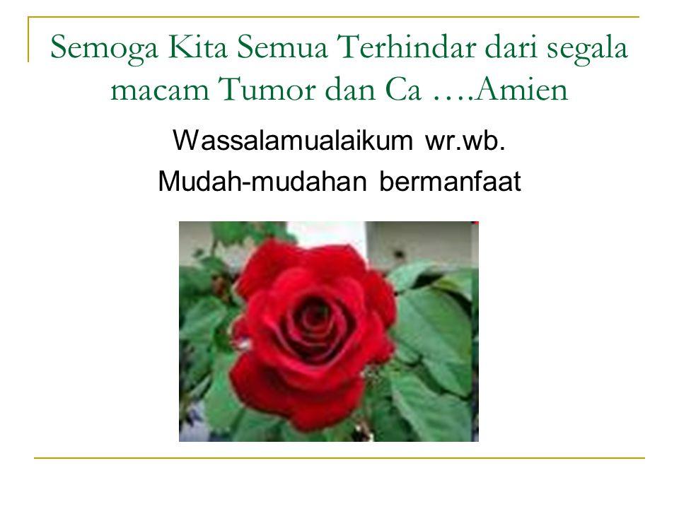 Semoga Kita Semua Terhindar dari segala macam Tumor dan Ca ….Amien