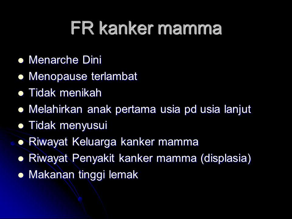 FR kanker mamma Menarche Dini Menopause terlambat Tidak menikah