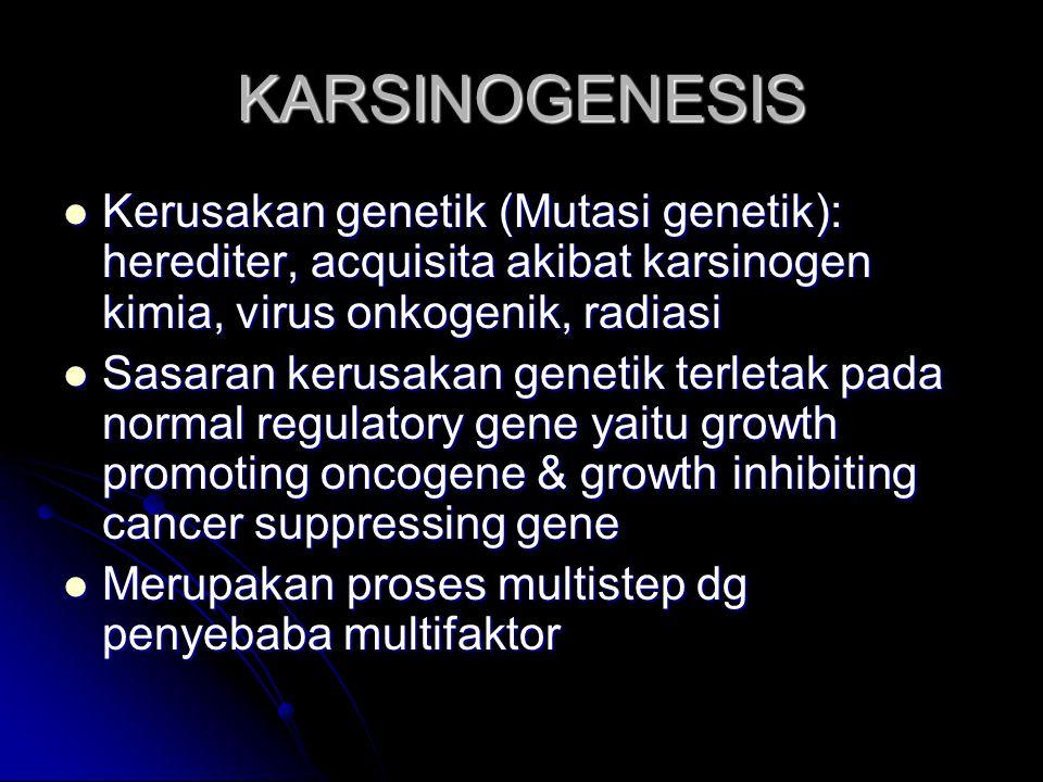 KARSINOGENESIS Kerusakan genetik (Mutasi genetik): herediter, acquisita akibat karsinogen kimia, virus onkogenik, radiasi.
