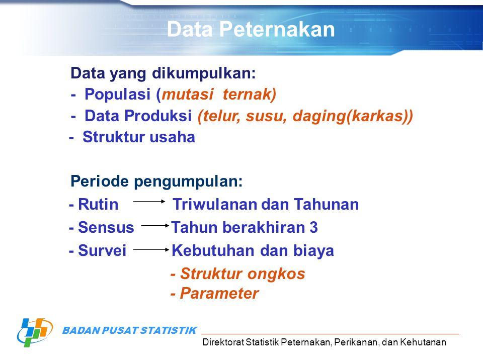 Data Peternakan Data yang dikumpulkan: - Populasi (mutasi ternak)