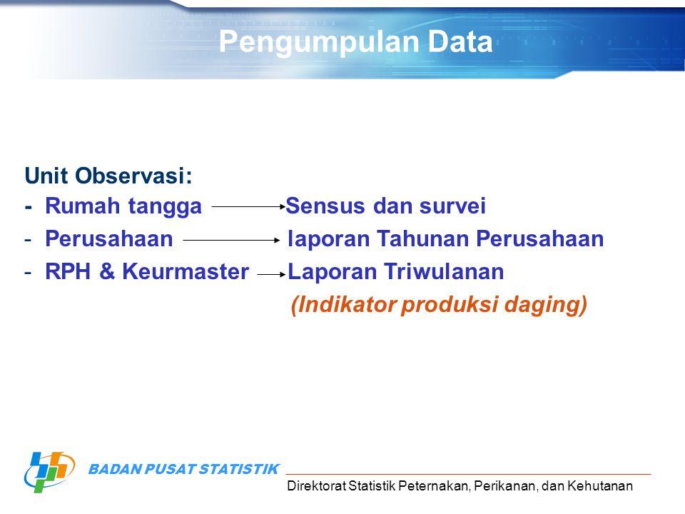 Pengumpulan Data Unit Observasi: - Rumah tangga Sensus dan survei
