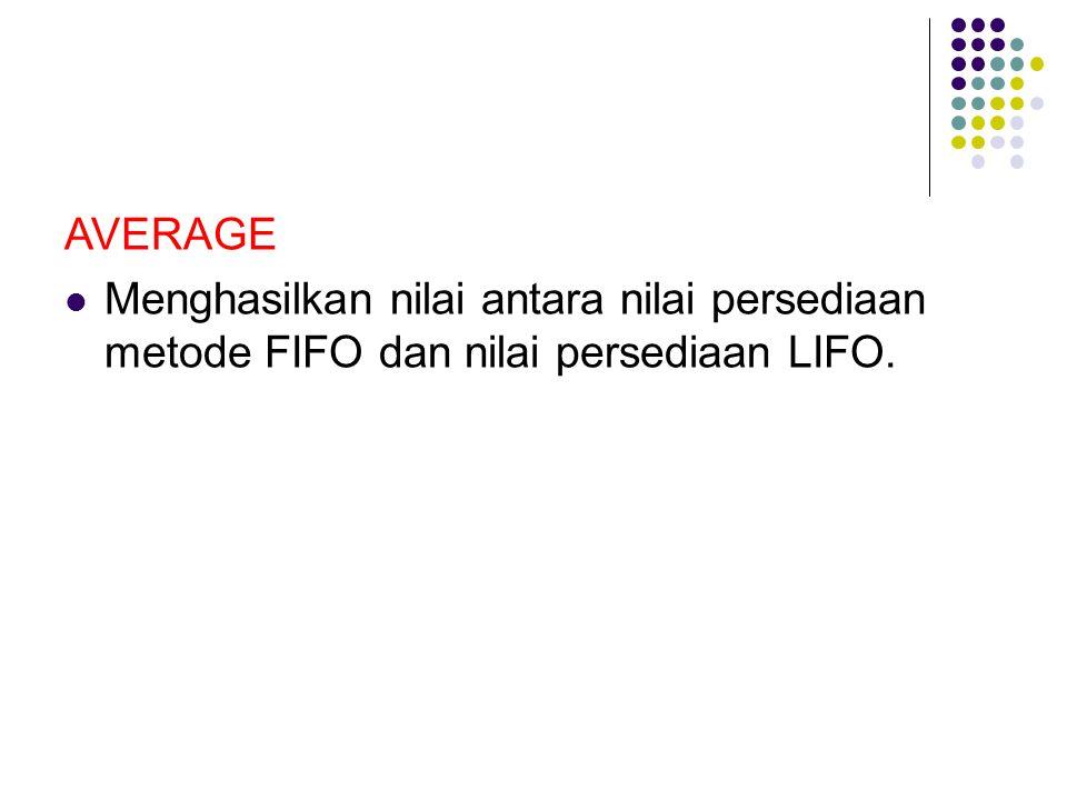 AVERAGE Menghasilkan nilai antara nilai persediaan metode FIFO dan nilai persediaan LIFO.