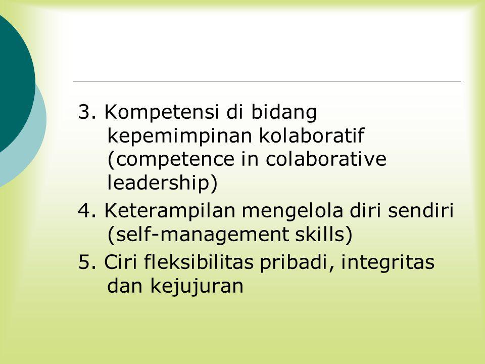 3. Kompetensi di bidang kepemimpinan kolaboratif (competence in colaborative leadership)