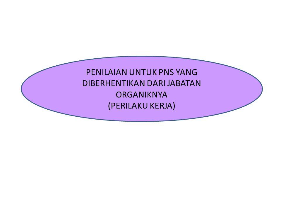 PENILAIAN UNTUK PNS YANG DIBERHENTIKAN DARI JABATAN ORGANIKNYA (PERILAKU KERJA)