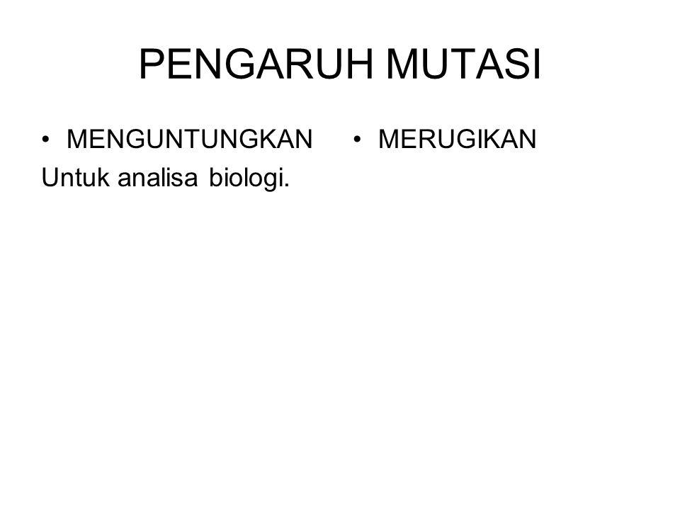 PENGARUH MUTASI MENGUNTUNGKAN Untuk analisa biologi. MERUGIKAN
