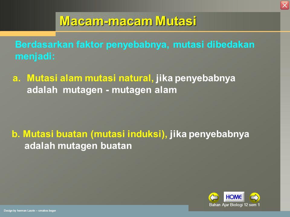 Macam-macam Mutasi Berdasarkan faktor penyebabnya, mutasi dibedakan menjadi: