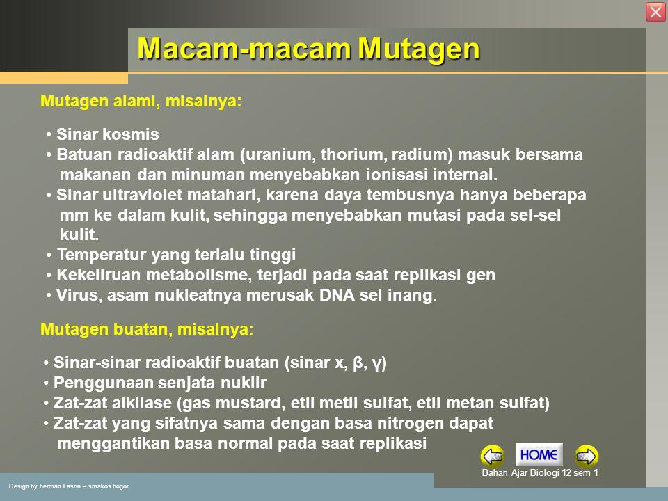 Macam-macam Mutagen Mutagen alami, misalnya: Sinar kosmis
