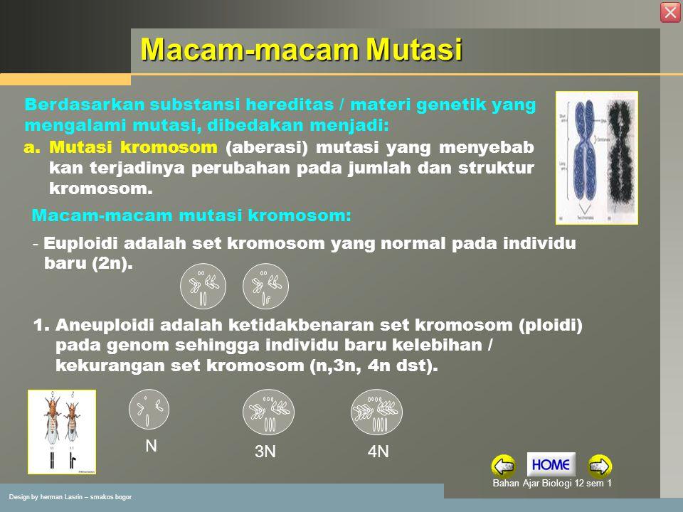 Macam-macam Mutasi Berdasarkan substansi hereditas / materi genetik yang mengalami mutasi, dibedakan menjadi: