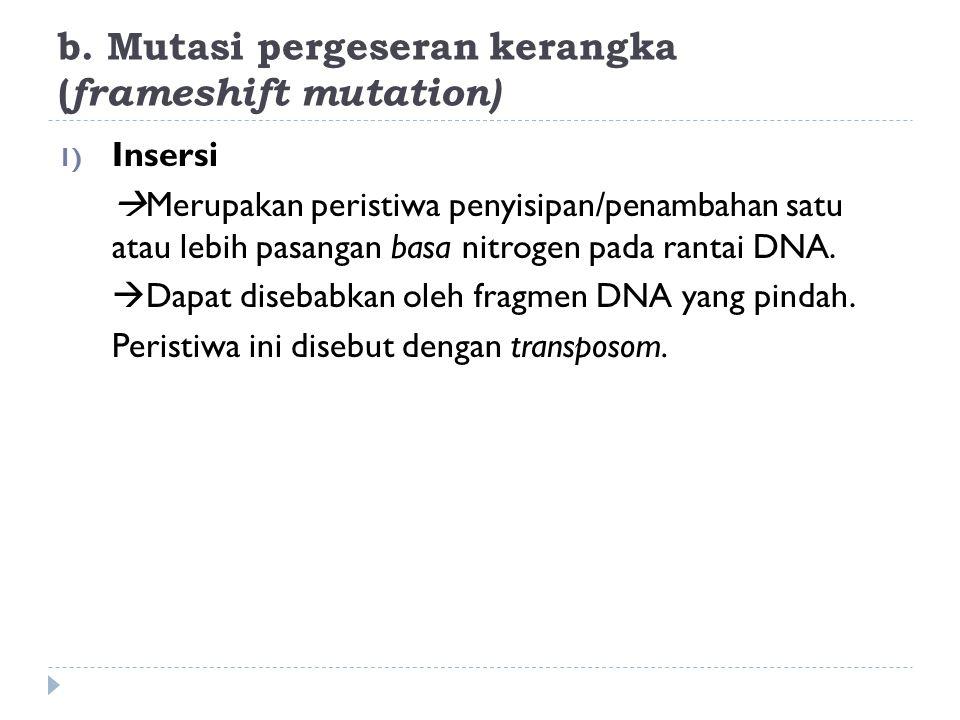 b. Mutasi pergeseran kerangka (frameshift mutation)