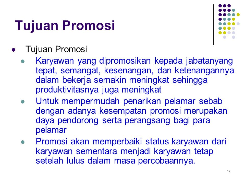 Tujuan Promosi Tujuan Promosi