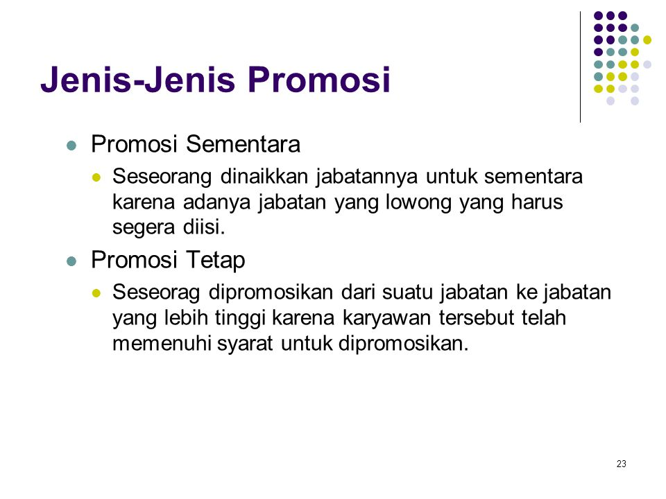 Jenis-Jenis Promosi Promosi Sementara Promosi Tetap