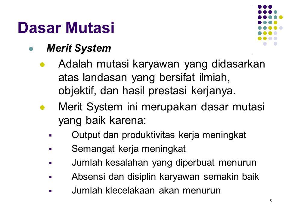 Dasar Mutasi Merit System. Adalah mutasi karyawan yang didasarkan atas landasan yang bersifat ilmiah, objektif, dan hasil prestasi kerjanya.