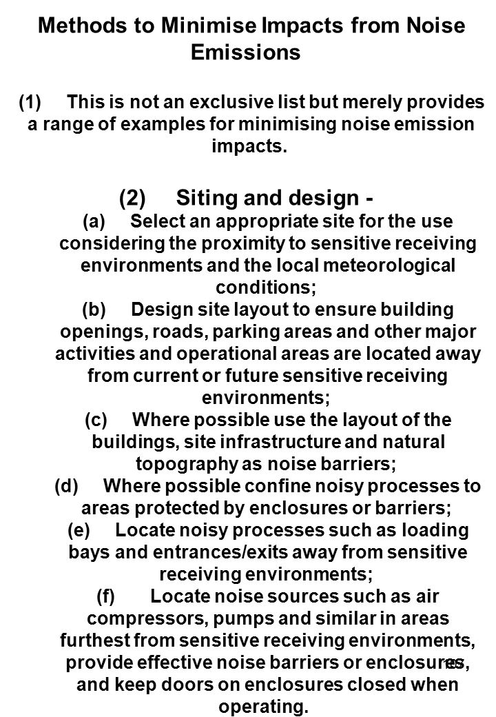 Methods to Minimise Impacts from Noise Emissions